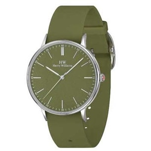 Olive Rubber Strap Round Dial Analog Watch