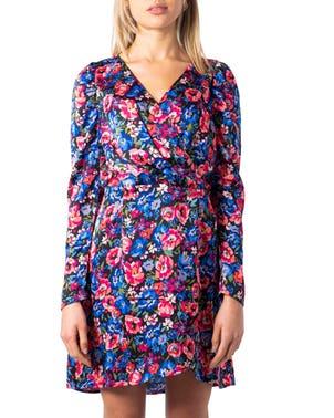 Pink V-Neck Long Sleeve Floral Dress