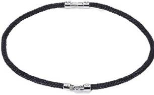 Black Cotton Rope Steel Clasp Necklace