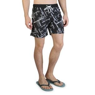 Black Printed Elastic Waist Swimshorts