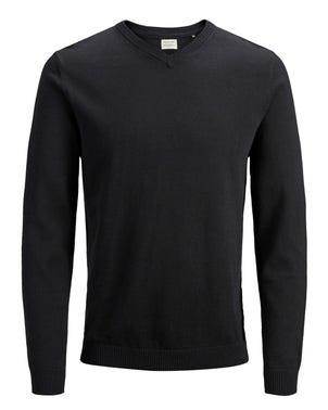 V Neck Long Sleeve Knit Sweatshirt