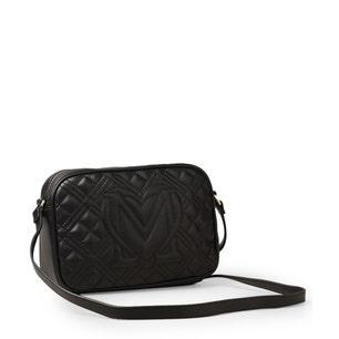 Black Zipper Quilted Crossbody Bag