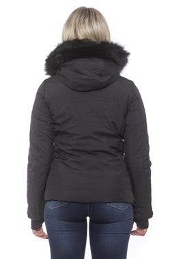 Black Hoodie Faur Zip Long Sleeve Jacket