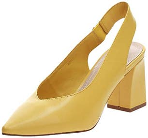 Yellow Leather Rondol Slingback Pumps