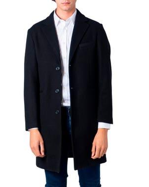 Black Long Sleeve Collar Button Coat
