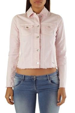 Pink Long Sleeve Button Crop Blazer