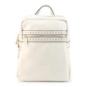 White Leather Vera Studs Backpack