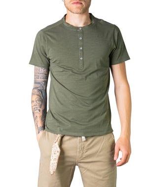 Short Sleeve Button Crew Neck T-shirt