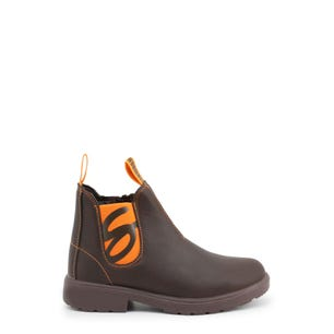 Brown Elastic Kids Ankle Boots