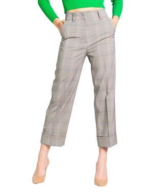 Checkered Button Zipper Fold Hem Trouser