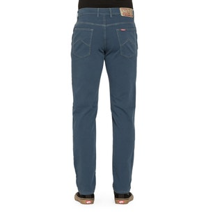 Blue Stitched Button Zipper Trouser