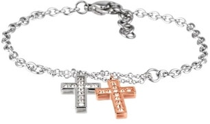 Stainless Steel Chain Bracelet Cross Pendants Necklace