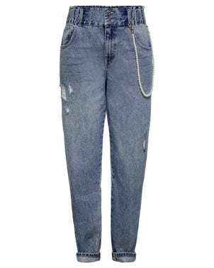 Two Button Denim Ripped Jeans