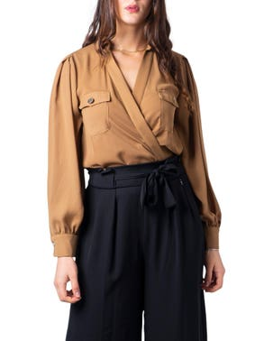 Brown V- Neck Long Sleeve Button Blouse