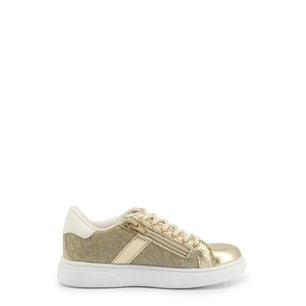 Gold Low Top Lace Up Kids Sneakers