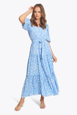 Polka Dot Effect Tiered Dress
