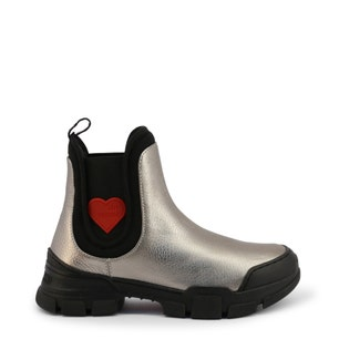 Round Toe Elastic Leather Ankle Boots