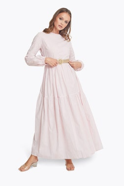 Pink Embroided Effect Maxi Dress