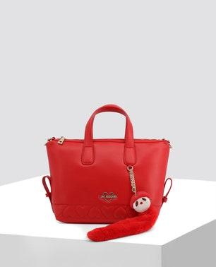 حقيبة يد جلدية بلون أحمر