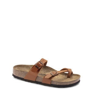 Brown Round Toe Buckle Flat Sandals