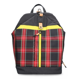 Checkered Zipper Front Backpack