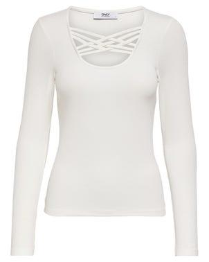 White Long Sleeve Knitwear Top