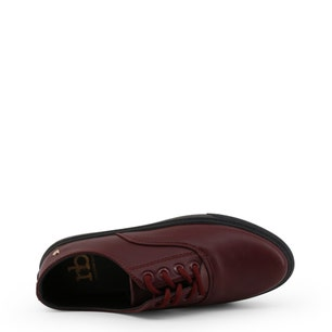 Bordeaux Round Toe Leather Sneakers