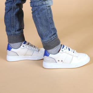 White Round Toe Leather Kids Sneakers