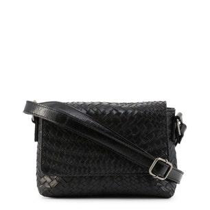 Black Braided Zipper Crossbody Bag