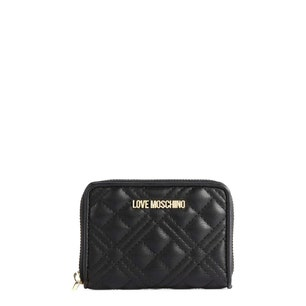 Black Leather  Quilted Zipper Wallet