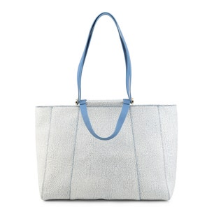 Blue Printed Leather Zip Shopping Bag