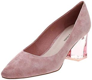 Blush Hippee Suede Clear Heel Pumps
