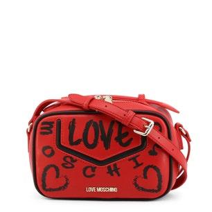 Red Leather Zip Love Crossbody Bag