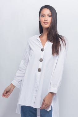 Oversized Button Front Blouse