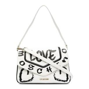 White Printed Love Shoulder Bag