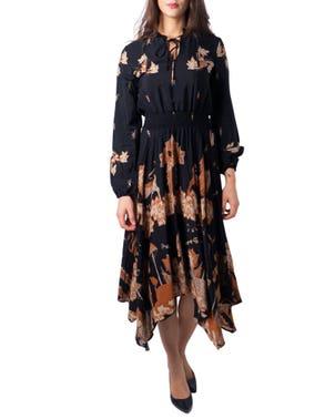 Round Neck Elastic Waist Floral Dress