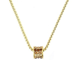 Metal Gold Rounds Pave Cylinder Necklace