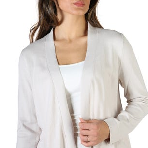Grey Open Front Long Sleeve Sweater
