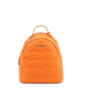 Orange Quilted Heart Zipper Backpack
