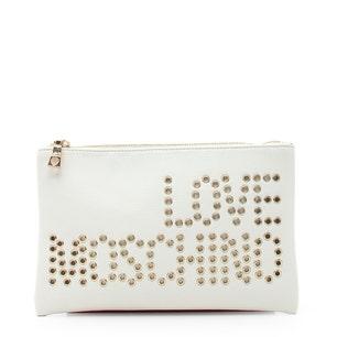 White Zipper Meta Eyelets Clutch Bag