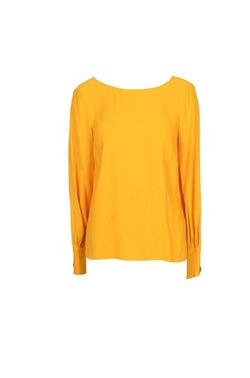 Yellow Sleeve Button Cuff Top