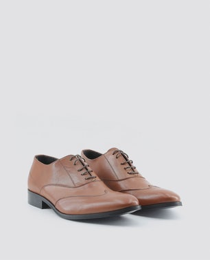 Brown Isaie Block Heel Lace Up Shoes