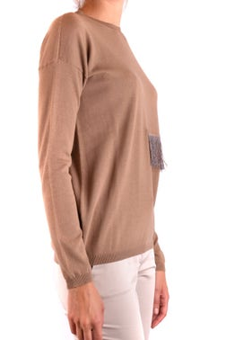 Round Neckline Fur Touched Front Longsleeves Knitweatr