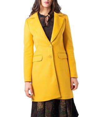 Collar Button Long Sleeve Pocket Coat