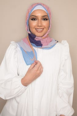 Geometric Printed Fruit Punch Hijab