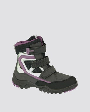 Black Xpedition Velcro Strap Kids Boots