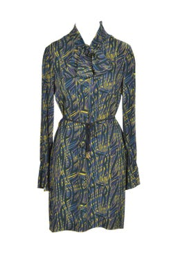 Long Sleeve Printed Floral Midi Dress