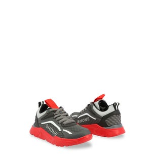 Grey Red Lace Up Kids Sneakers