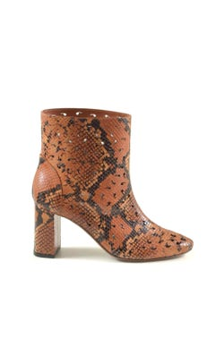 Leather Snake Print Ankle Boots