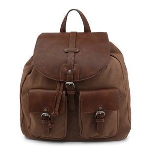 Brown Leather Ruben Drawstring Backpack
